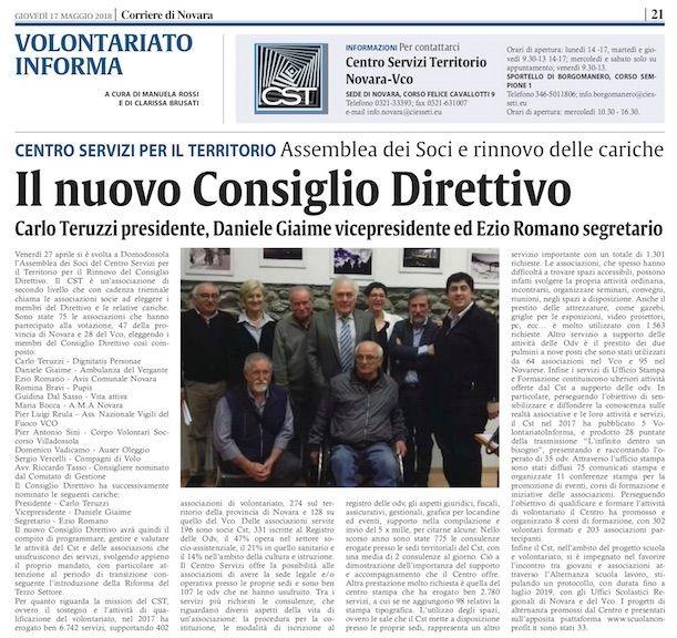 Corriere-di-Novara-21-17-05-2018-Giaime-eletto-vice-presidente-del-centro-servizi-Volontariato-Novara-e-Vco