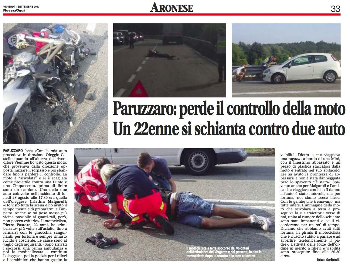 GIORNALE DI ARONA / AMBULANZA DEL VERGANTE INTERVIENE A PARUZZARO IN UN INCIDENTE STRADALE